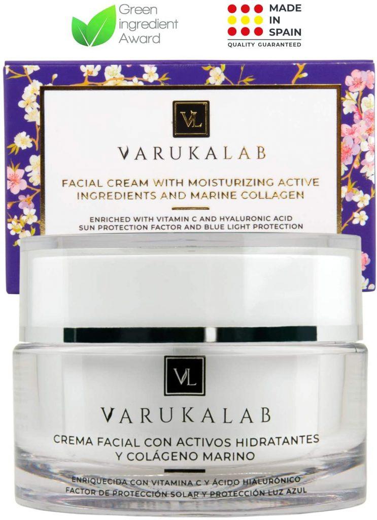 Crema hidratante antiarrugas con colágeno de Varukalab